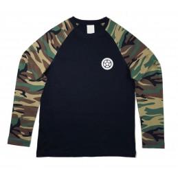Tričko SCOOTERING Camouflage Bavlna DLR | Dlouhé rukávy | BLACK-CAMO